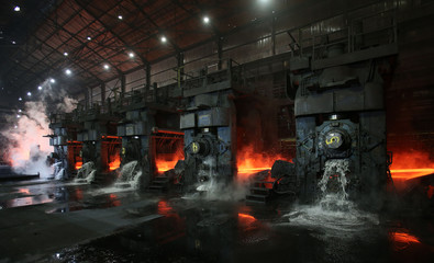 Water flows out as a steel slab is cooled at the Novolipetsk Steel PAO steel mill in Farrell, Pennsylvania