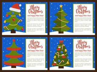 Christmas Tree Ornated with Toys Vector Illustration
