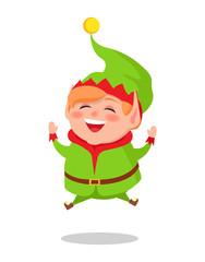 Happy Elf Jumping High Vector Illustration Cartoon