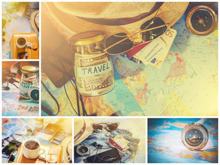 collage Travel. Selective focus.