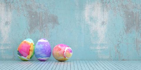 Ostereier zu Ostern vor Grunge Hintergrund