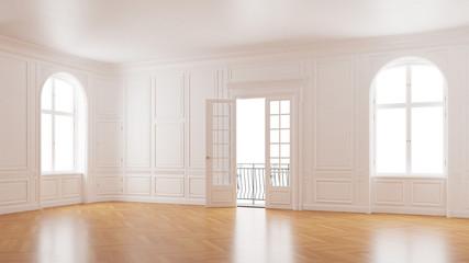 Eleganter Saal mit Stuck in Altbauwohnung