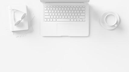 Business Arbeitsplatz von oben in weiß