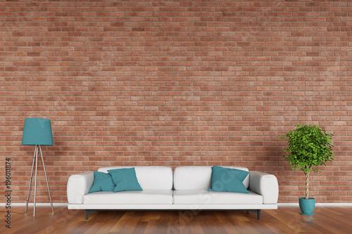 Platz Für Leinwand Oder Poster An Wand Im Wohnzimmer Stockfotos Und