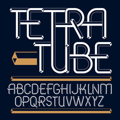 Set of trendy fun  vector capital English alphabet letters isolated. Special type font, script from a to z can be used for logo creation. Made using cube tetra tube design.