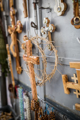 wooden cross and crown of thorns close up
