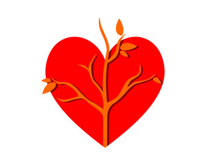 red heart love dead tree leafless plant fall image vector icon