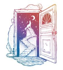Open door into a dream, stairway to the sky, wolf.