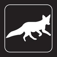 white fox silhouette clip art on black background