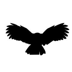 black owl silhouette clip art on white background