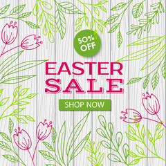Easter sale vector template. Web discount banner