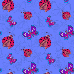 ladybugs and butterflies on blue background