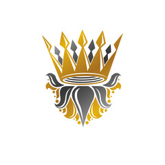 Ancient Crown vector illustration. Heraldic design element. Retro style logo. Ornate logotype isolated on white background.