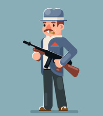 Criminal Gangster Submachine Gun Thug Character Icon Flat Design Vector Illustration