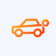 Car icon with star sign. Car icon and best, favorite, rating symbol