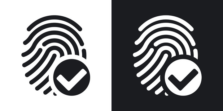 Vector fingerprint accepted icon on black and white background