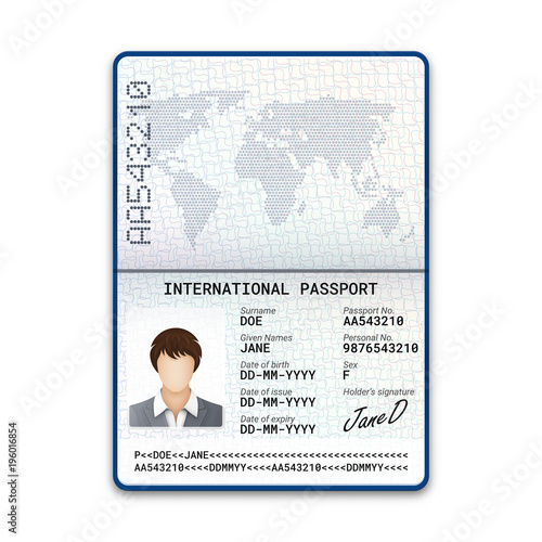 International Female Passport Template With Sample Of Photo