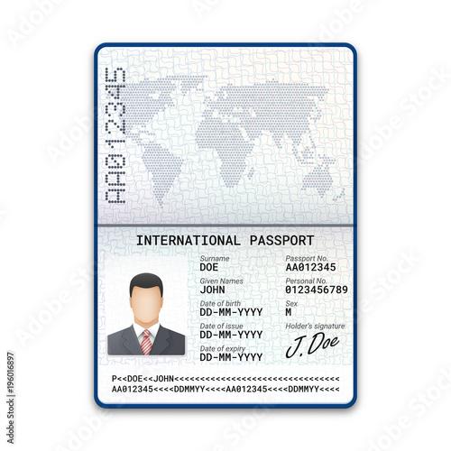 International Male Passport Template With Sample Of Photo Signature