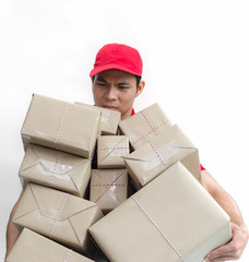 delivery business concept : uniform service worker holding shipment box