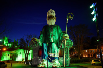 A giant replica of St. Patrick has been installed in the main town square of Downpatrick