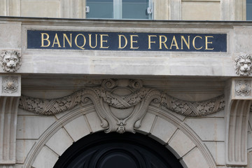"Facade of the Bank of France ""Banque de France"" headquarters in Paris"