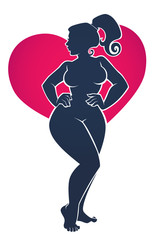 I love my Body, body positive illustration with beautiful woman silhouette on bright heart shape background