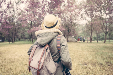 The women backpacking enjoy with natural about tourism trip