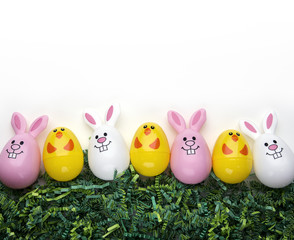 Easter Eggs And Grass Background