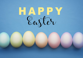 Happy easter sign with easter eggs