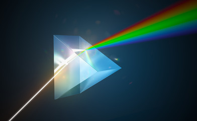 Light dispersion and refraction concept. Light shining through triangular glass prism. 3D rendered illustration.