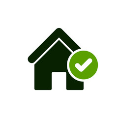 House icon with check sign. House icon and approved, confirm, done, tick, completed symbol