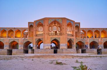 The arched niches of Khaju bridge, Isfahan, Iran