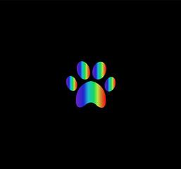 rainbow animal paw print icon isolated on black  background