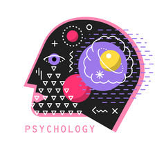 Vector illustration of psychology. Profile of the human head with the cosmos and the planets inside.