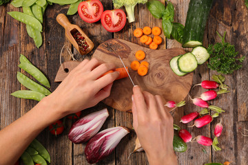 cooking raw vegetable