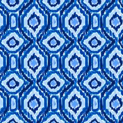 Boho tie dye shibori pattern watercolor dark blue