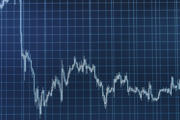 Stock market concept and background. Share price quotes. Market trading screen.  Stock market graph and bar chart price display.  Finance stock market investment trading. Macro close-up.