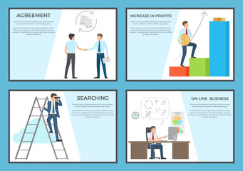 Business Set of Posters Depicting Diligent Workers