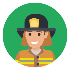 Cheerful Firefighter in Protective Suit and Black Hat
