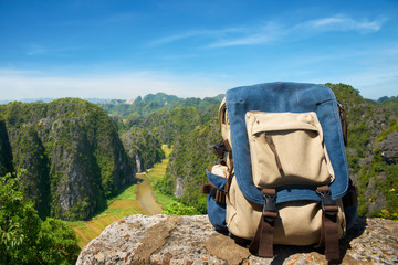 Travel backpack closeup.