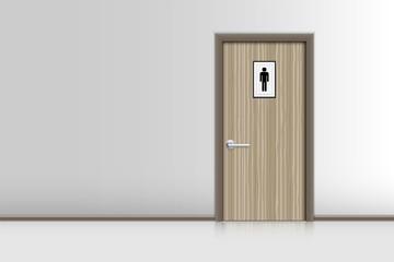 Realistic single door and interiors decorative of resting room., Indoor concept