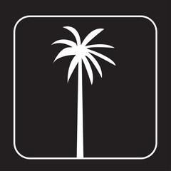 white palmetto tree silhouette on black background