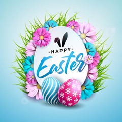 Vector Illustration of Happy Easter Holiday with Painted Egg, Flower and Green Grass on Shiny Blue Background. International Spring Celebration Design with Typography for Greeting Card, Party