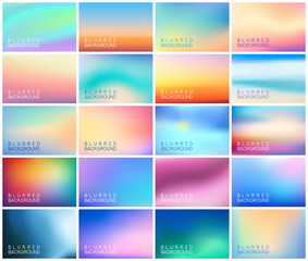 BIG set of 20 horizontal wide blurred backgrounds. With various quotes. Sunset and sunrise sea blurred backgrounds set