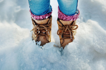 Boots in the snow, Girl boots walking snow weather, toned