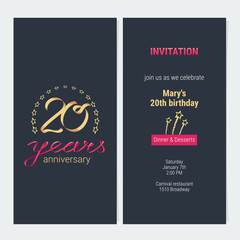 20 years anniversary invitation vector