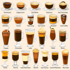 Different variety of coffee beverage drink