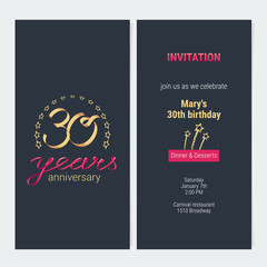 30 years anniversary invitation vector