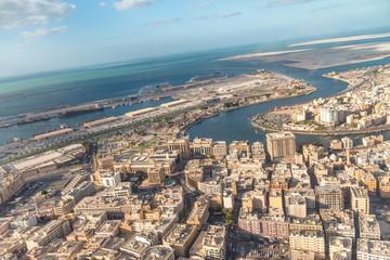 Aerial view of Dubai skyline and creek, UAE