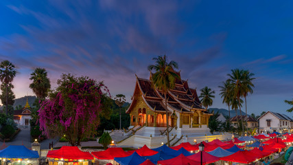 Long exposure at The night souvenir market in front of National museum of Luang Prabang, Laos.